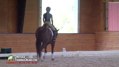 Nicholas continues to help the rider ask her horse to be longer in the neck so he tracks up more with connection. - Part 2 by Dressage Today Online