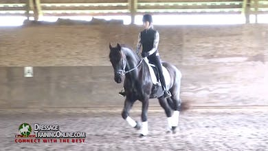 Laura watches this pair warm up and encourages them to stretch while keeping the same tempo. - Part 1 by Dressage Today Online