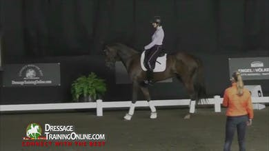 Adeline begins working on the downward transition from trot to walk. - Part 2 by Dressage Today Online