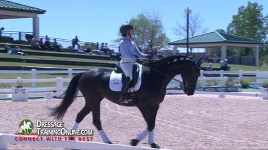 Scott Hassler first watches this lovely long legged mare warm up with special attention to connection to the outside rein. - Part 1 by Dressage Today Online