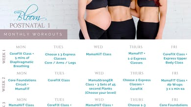 Postnatal Workout Calendar 1 by The Bloom Method