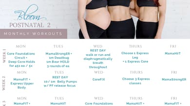 Postnatal Workout Calendar 2 by The Bloom Method