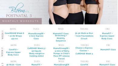 Postnatal Workout Calendar 3 by The Bloom Method