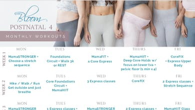 Postnatal Workout Calendar 4 by The Bloom Method