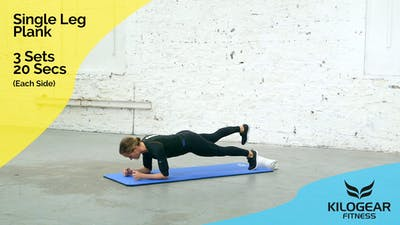 Instant Access to Single leg plank with lateral toe touch by Kilogear, powered by Intelivideo
