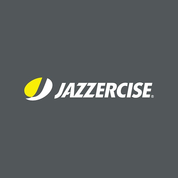 White and yellow Jazzercise logo on dark gray background