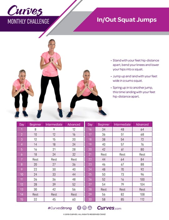 Get access to CHALLENGE: IN / OUT SQUAT JUMPS REPS by MyCurvesOnDemand