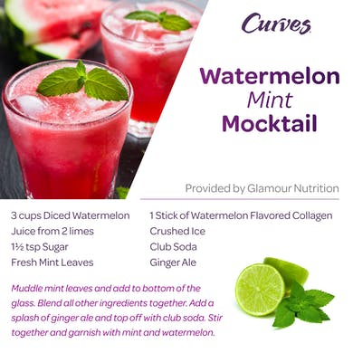 VDOF: WATERMELON MINT MOCKTAIL RECIPE CARD by MyCurves On Demand