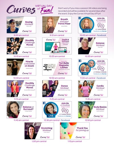 VIRTUAL DAY OF FUN AGENDA by MyCurves On Demand
