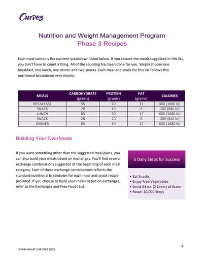 NUTRITION: PHASE 3 RECIPES by MyCurves On Demand