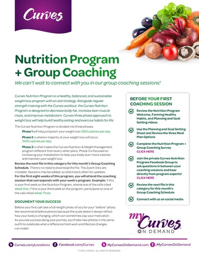 NUTRITION + GROUP COACHING INFO SHEET by MyCurves On Demand