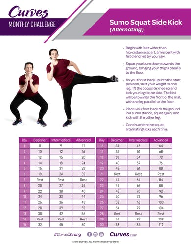 CHALLENGE: SUMO SQUAT SIDE KICK REPS by MyCurves On Demand