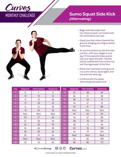 CHALLENGE: SUMO SQUAT SIDE KICK REPS by MyCurvesOnDemand