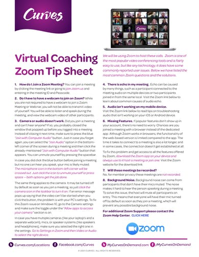VIRTUAL COACHING ZOOM TIP SHEET by MyCurves On Demand