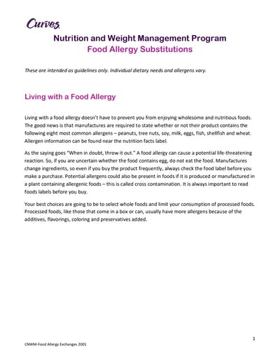 NUTRITION: FOOD ALLERGY SUBSTITUTIONS by MyCurves On Demand