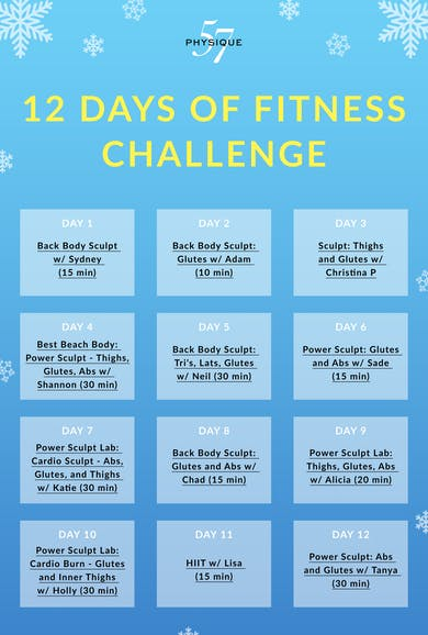 12 Days of Fitness Calendar by Physique 57