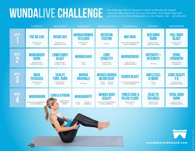 Month of WundaLIVE Challenge Calendar by WundaBar Pilates