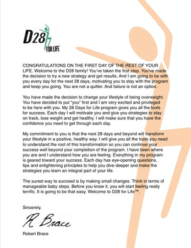 D28, Welcome Letter by Robert Brace
